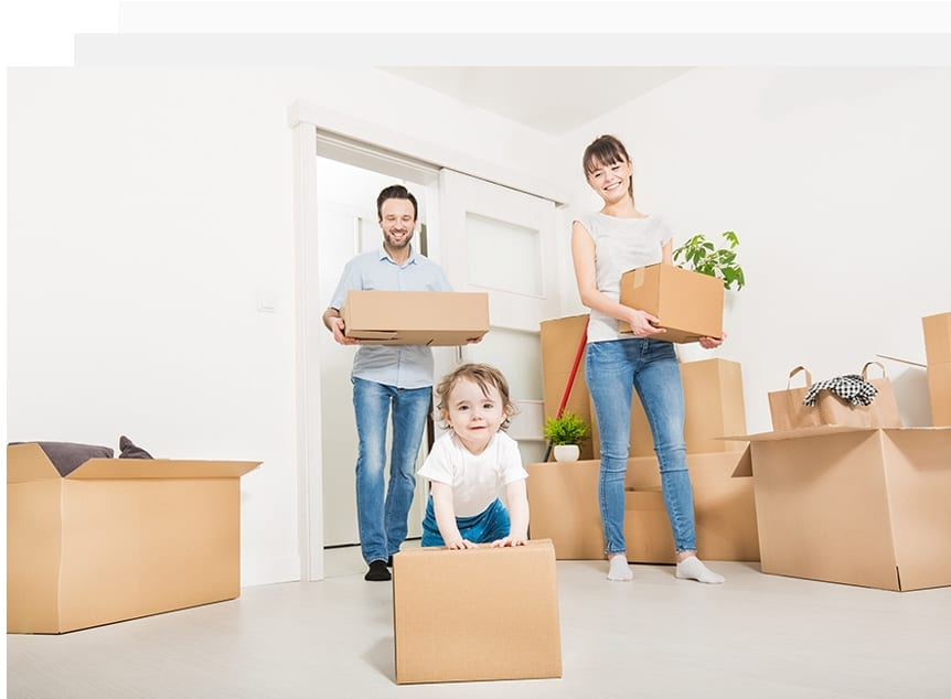Picture of Couple Holding Boxes with Child
